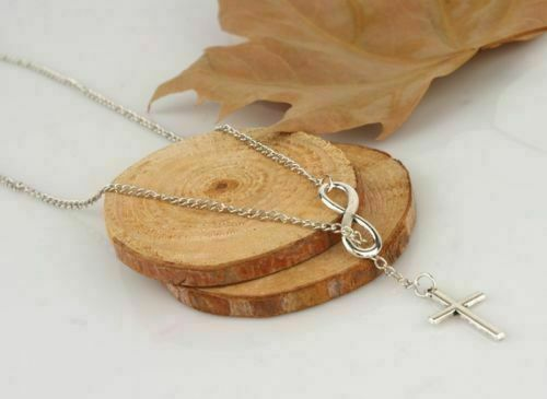 Women-039-s-Fashion-Jewelry-925-Sterling-Silver-Plated-Infinity-Cross-Necklace-4-3